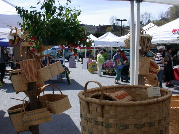 Farmers market with baskets